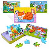 Yikky Rompecabezas de Madera Juguetes para Niños 3 4 5+ años, Paquete de 4 Piezas Puzzle Madera de Animales Coloridos Juguetes Educativos para Niños Juguetes Montessori para Niños y Niñas (4 Puzzles)