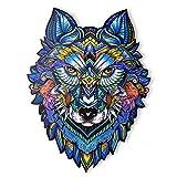 Rompecabezas de Madera   Rompecabezas de Animales de Madera de Lobo de Forma única   Puzzle Animales para Adultos y Niños (L)