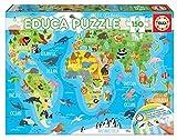 Educa- Mapamundi Animales Puzzle, 150 Piezas, Multicolor (18115)